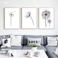 arte de la pared de la flor blanca negra al por mayor-Wall Art Canvas Poster Black White Minimalist Print Painting Dandelion Flower Landscape Picture For Living Room Decoración del hogar