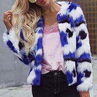 büyük boyun ceketleri toptan satış-Kadınlar Kış Sıcak Kürk Ceket Yakasız O-Boyun Uzun Kollu Casual Karışık Renk Kalın Kabarık Tüylü Büyük Boy Artı 3XL 6Q2093