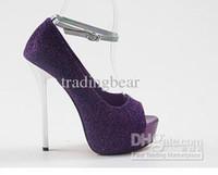 ingrosso pompe a punta di punta-Charm2019 Decent Women's Glittering Purple Blue Pump To Decent Dress Shoes 4 colori