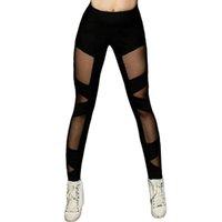 ingrosso gambali croce neri-Leggings sportivi neri sexy a maglia incrociati da donna Active Wear Pantalone yoga elasticizzato Pantaloni skinny neri a vita alta