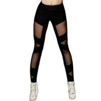 Wholesale sexy yoga pants online - Women s Black Sexy Cross Mesh Sports Leggings Active Wear Elastic Yoga Tights Black High waist Skinny Pants