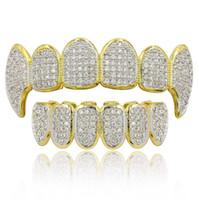 ingrosso oro dentale-Hip Hop Grillz Luxury Gloring Zircon Micro Pave Dental Grills 2019 Moda Uomo Donna 18K Gold Plated Denti Parentesi 2 pezzi Set all'ingrosso LP022
