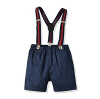 Wholesale baby first birthday clothing for sale - Toddler Boys Clothes Baby Boys Cake Smash Outfit First Birthday Shorts Pants Adjustable Y Back Suspenders Clothes Set Summer Boys Clothes