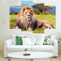 tier-ölgemälde poster großhandel-Moderne Lion Leinwand Malerei Tier Wandkunst Poster und Drucke Spray Malerei Wohnkultur Öl Modularen Bilder für Zuhause Kein Rahmen
