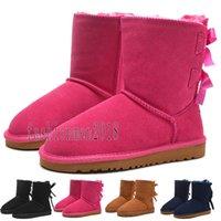 botas altas negras al por mayor-2020 chica del Arco-nudo UGG BOOTS SHOES Mujeres Australia Classic Tall botas de las mujeres del arco medio arranque botas de nieve de invierno zapatos negro azul botines de cuero