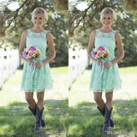 Wholesale wedding formal mini dress images resale online - 2019 Country Mint Green Bridesmaids Dresses Short Mini Lace Formal Dress For Junior Bridesmaid Knee length Wedding Party Dresses