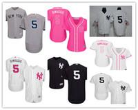new york girl toptan satış-2019 özel NY New York erkek kadın çocuk gençlik Majestic Yankees Jersey 5 Joe DiMaggio ev kızlar Beyzbol Jers