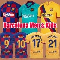 messi formaları toptan satış-2019 2020 Barcelona Soccer Jerseys Kids Futbol Forması Camisetas de Fútbol ERKEKLER ÇOCUKLAR 19 20 Barca Messi GRIEZMANN DE JONG Rakitic Futbol takımları Maillot de foot