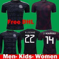 jersey de fútbol negro para niños al por mayor-2019 2020 camisetas Mexico Black Gold Cup Soccer Jersey kits 19 20 Kids Long Mexico en casa lejos del hogar CHICHARITO LOZANO CARLOS LAYUN Camisetas de fútbol