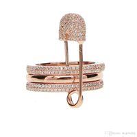 alfinetes exclusivos venda por atacado-2019 moda três anéis de dedo com pinos design de pilha pin pino de segurança designer exclusivo e elegante mulheres jóias punk anel de pilha