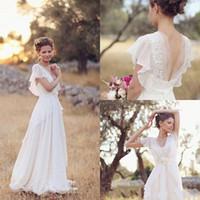 vestidos de noiva de estilo boêmio vintage venda por atacado-Barato bohemian hippie estilo vestidos de casamento praia a linha de vestidos de noiva vestidos de noiva sem encosto branco renda chiffon boho