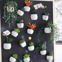 etiquetas da parede do potenciômetro da planta da flor venda por atacado-Simulado Bouquet Flor Frigorífico Etiqueta Suculenta imã magnético Planta de vaso Casa Decoração Wall LJJ_OA5858