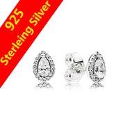 perno de lágrima al por mayor-Auténtica plata esterlina 925 CZ Diamante Lágrimas Gotas Pendiente Joyería de regalo para Pandora Lágrimas radiantes Pendientes de botón Caja original Juego