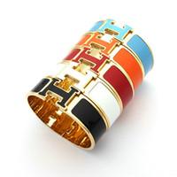 ingrosso braccialetto di resina del fiore di rosa-Bracciale rigido in acciaio 316L al titanio, larghezza 1,8 cm, con smalto colorato e parole H per bracciale uomo e donna in formato 5.9 * 4.8cm regalo per gioielli PS63
