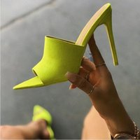 Wholesale long sandal heel for sale - Group buy EOEODOIT Summer Pumps Slippers Sexy Long Pointy Toe Candy Color Ultra High Stiletto Heels Pumps Sandals Women Club Shoes