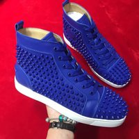 zapatos casuales planos azul real al por mayor-Envío gratis Casual Designer Fashion mujeres hombres royal blue spike studs Nueva llegada Krystal Spike flats lace up high top shoes boots