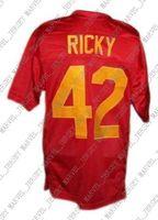 42 filme venda por atacado-Personalizado Ricky # 42 Boyz N O Capuz Filme Novo Jersey de Futebol Vermelho Costurado Qualquer número nome XS-5XL