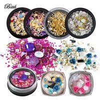diamants acryliques achat en gros de-Bittb Mix Couleur Ongles Strass 3D Nail Art Décoration Diamants Perles De Cristal Acrylique Métal Chaîne En Or Incrusté Art Stones