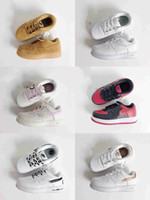 Wholesale children girl fashion spring shoes resale online - 2019 OW Children Air Forced Volt Low Kids Sneakers White black Boys Girls youths Fashion One Running Shoes sports shoes Size