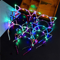 Wholesale flashing light hair accessories for sale - Group buy LED Light Up Cat Animal Ears Headband Women Girls Flashing Headwear Hair Accessories Concert Glow Party Supplies Halloween Xmas Gift RRA2073