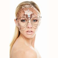 Wholesale half white party mask for sale - Group buy Elegant Phantom Rose Gold Wedding Party Mask Women Chain Costume Venetian Filigree Metal Laser Cut Cosplay Masquerade Mask
