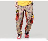 monos de talla grande para hombre al por mayor-Pantalones de camuflaje de Carga hombres Trajes para hombre holgada del bloque del color de Hip Hop Abofeteado Joggers grandes bolsillos pantalón azul más el tamaño
