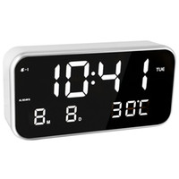 часы с несколькими тревогами оптовых-Digital Analog-Digital Clocks Led Digital Multi-Function Alarm Clock Mirror Clock Temperature Sleepy Luminova Home Decor