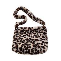 Wholesale vintage winter handbag for sale - Group buy Woman Shoulder Bags Leopard Vintage Plush Handbag Autumn And Winter Fashion Shoulder Bag Large Capacity Ladies Bags