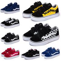 sapatos de bebê brancos para meninos venda por atacado-vans old skool Crianças originais Old Skool SK8-HI Sapatos de Lona Casuais Designer de Luxo Preto Branco Azul Vermelho Menino Menina Skateboard Esporte Tênis 22-35