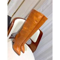 морщинистые сапоги оптовых-Телячья кожа тонких высоких ботинок женщины зима нового масла воск кожа морщинистой сапоги высокой пятка заостренный носок сапоги