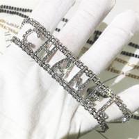 cz diamante rhinestone al por mayor-Rhinestone Pulseras Collares CZ Diamante Gargantilla collar del encanto de la pulsera de las nuevas mujeres de 9 estilos Carta de lujo de estilo Declaración de joyería M040F regalo