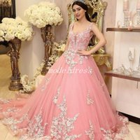 Wholesale sweet watermelon for sale - Group buy Princess Watermelon Quinceanera Dresses Spaghetti Hollow Back Sweep Train Appliques Prom Party Gowns For Sweet vestido de anos