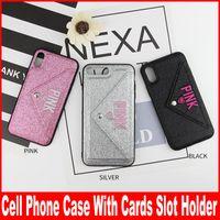 teléfonos celulares rosa al por mayor-PINK Glitter Bling funda de TPU suave para Iphone XR X XS Max 8 7 6 6S Plus Brillante Tarjetas Sparkle Holder Soporte para teléfono celular cubierta de piel
