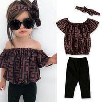 babys kleidung großhandel-F Brief drucken Mädchen Kleidung niedlichen Kinder Outfits aus Schulter Brief mit Stirnband 3pcs Sommer Baby Kleidung Sets TTA970