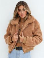 xl peluches venda por atacado-The 2018 New Womens Warm Teddy Bear Hoodie Ladies Fleece Zip Outwear Casaco Oversized Casacos