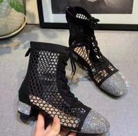 mulheres botas baixas venda venda por atacado-venda 2019 designer casual melhores sapatos de alta qualidade mulheres sapatilha Shining Mesh tornozelo botas chinelos sandálias bombas planas