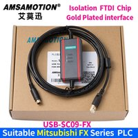 programación usb c al por mayor-Cable de chip FTDI USB-SC09-FX + Compatible Mitsubishi FX1N 2N 1S Serie 3U PLC de programación Cable de descarga de datos