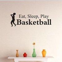 los niños juegan arte en casa al por mayor-58 * 19 cm Comer Sleep Play Basketball Etiqueta de La Pared de Vinilo Arte Calcomanías Home Kids Room sala de estar Decoración