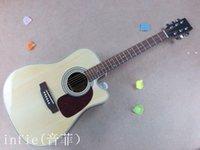 e-gitarre natur großhandel-Freie Verschiffen neue Ankunftsnatur hölzerne Dreadnought Schnittweise EST Akustikgitarre E-Gitarre