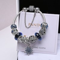Wholesale snake bone chains resale online - 2019 new fashion luxury jewelry pandora charms Pandora Bracelet Women s Blue Ocean Heart Silver Beads Completed Snake Bone Chain Bracelet