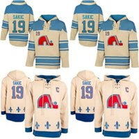 bej hoodies sweatshirts toptan satış-Sıcak Satış Mens Kapüşonlular 19 Joe Sakiç Jersey Quebec Nordiques Hokeyi Formalar Bej Joe Sakiç Hoodies Sweatshirt Ücretsiz Kargo