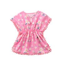 vestido de niña de flores cubierta al por mayor-Summer Baby Girls Dress Beach Cover Up Sundress Flower Fringe Dress Romper Yellow Pink Tassels Swim