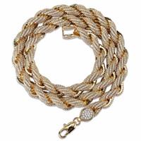 tibetanische silberne korne geben verschiffen frei großhandel-2019 Neue Hip Hop Diamant Halskette Micro Zirkonia Kupfer Anhänger Halskette Set Mit Diamanten 18 Karat Vergoldung Kuba Kette Twist Kette