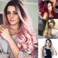 блондинка натуральный вьющийся парик оптовых-Женщины длинной вьющейся Блондинки Ombre парики Синтетического парик волос Natural Full Волнистого