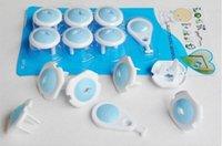 bebek güvenlik fiş kapakları toptan satış-Yeni 6 adet Rus AB Avrupa Euro Standart Çocuk Elektrik Priz Plug İki Fazlı Güvenli Kilit Kapağı için Bebek Çocuk Güvenliği