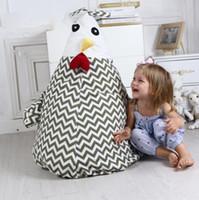 ingrosso sacchetti di fagioli molli-Sacchetto di immagazzinaggio di pollo farcito Cartoon Bean Chair Sacchetto di immagazzinaggio portatile giocattolo per bambini Morbido sacchetto di vestiti sacchetto dell'organizzatore LJJK1488