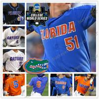 siyah turuncu basketbol formaları toptan satış-Özel Florida Gators Beyzbol NCAA CWS Beyaz Turuncu Mavi Siyah Herhangi Numara Adı # 6 Jonathan Hindistan 51 Brady Şarkıcı 20 Pete Alonso Formalar