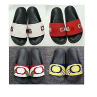66794f0feadb Womens Designer Shoes Rubber Slides Graffiti Sandals Blooms Red Mens Shoes  Beach Stripe Flip Flops Slippers Flower Box Duty Bag Big Size 36-