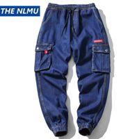 mann cargo jeans hose großhandel-Männer Vintage Mode Multi Taschen Denim Hose Streetwear Hip Hop Cargo Pant Männlichen Jeans Harem Hose Blau 2019 WB52
