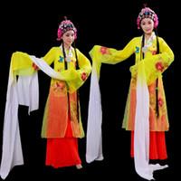 desgaste da dança do carnaval venda por atacado-Chinese Peking Opera Traje de Dança Carnaval fancy Dance estágio desgaste padrão de flor antigo estilo mulheres vestido de manga longa roupa de desempenho